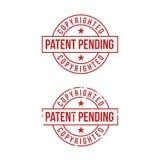 在白色背景的专利审理标志 红色印花税 也corel凹道例证向量 免版税库存照片