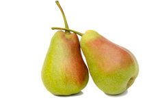 在白色背景的两个大梨 免版税库存照片