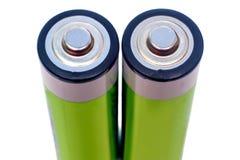 在白色背景的两个电池 库存照片