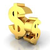 在白色背景的两个金黄美元货币符号 库存照片