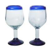 在白色背景的两块古色古香的玻璃 库存图片