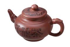 在白色背景的中国茶壶 库存照片