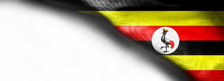 在白色背景的乌干达旗子 库存照片