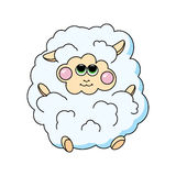 在白色背景的乐趣绵羊 免版税库存照片