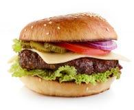 在白色背景的乳酪汉堡 免版税库存照片