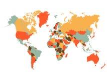 在白色背景的五颜六色的世界地图例证 免版税图库摄影