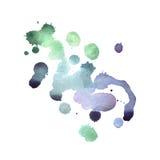 在白色背景的五颜六色的减速火箭的葡萄酒摘要水彩水彩画艺术手油漆 图库摄影