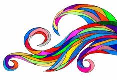 在白色背景的五颜六色的旋转的波形 皇族释放例证