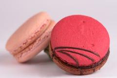在白色背景的五颜六色的蛋白杏仁饼干 Macaron或蛋白杏仁饼干是s 免版税库存图片