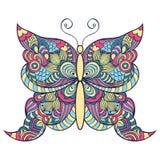 在白色背景的五颜六色的蝴蝶 免版税图库摄影