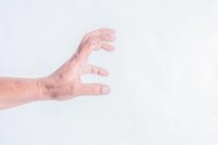 在白色背景的人手 图库摄影
