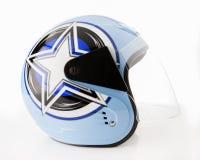 在白色背景的优质蓝色摩托车盔甲 免版税库存照片