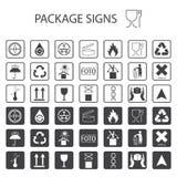 在白色背景的传染媒介包装的标志 运输象设置了包括回收,易碎,产品的保存性, flamm 库存例证