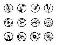 在白色背景的传染媒介CD的线象 免版税库存图片