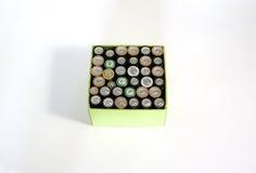在白色背景的使用的可再充电电池 免版税库存图片