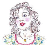 在白色背景的例证妇女美丽的面孔画象 图库摄影
