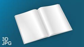 在白色背景的例证空白的白色被打开的杂志 模板的嘲笑 免版税库存图片