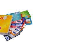 在白色背景的信用卡 免版税库存照片