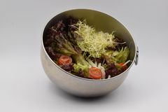 在白色背景的健康蔬菜沙拉 库存图片