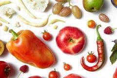 在白色背景的健康食物 免版税库存图片