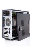 在白色背景的充分的塔atx黑色案件 图库摄影