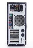 在白色背景的充分的塔atx黑色案件 库存照片