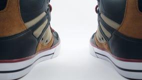 在白色背景的全新的运动鞋 库存照片