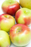 在白色背景的六个新鲜的苹果 免版税库存图片