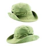 在白色背景的冒险帽子 免版税库存图片