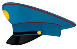 在白色背景的军帽警察 免版税库存图片