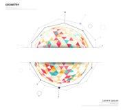 在白色背景的几何圈子与使用文本或h的空间 库存图片