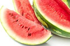 在白色背景的切的成熟西瓜 watermelo特写镜头  图库摄影