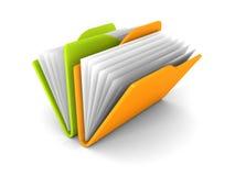 在白色背景的办公室纸文件夹五颜六色的象 库存照片