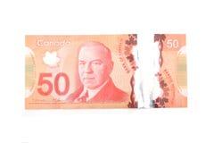 在白色背景的加拿大金钱 库存图片