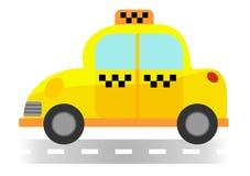 在白色背景的动画片出租汽车 库存图片