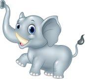 在白色背景的动画片滑稽的婴孩大象 免版税库存照片