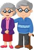 在白色背景的动画片年长夫妇 免版税库存图片