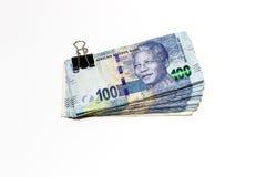 在白色背景的南非兰特 免版税库存照片
