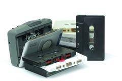 在白色背景的卡式磁带 库存照片
