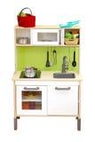 在白色背景的厨房玩具集合孤立 免版税库存图片