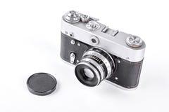 在白色背景的古板的照相机 库存图片