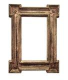 在白色背景的古色古香的木制框架 免版税库存照片