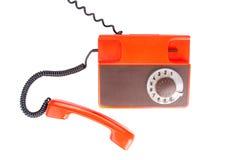 在白色背景的古色古香的电话 免版税库存图片