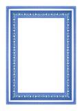 在白色背景的古色古香的蓝色框架 库存照片