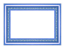 在白色背景的古色古香的蓝色框架 库存图片