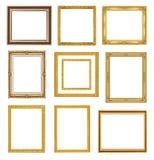 在白色背景的古色古香的金框架 免版税图库摄影
