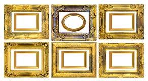 在白色背景的古色古香的金框架 图库摄影