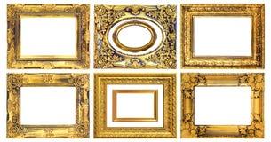 在白色背景的古色古香的金框架 库存图片