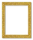在白色背景的古色古香的金框架 库存照片