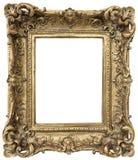 在白色背景的古色古香的金黄框架 免版税库存照片